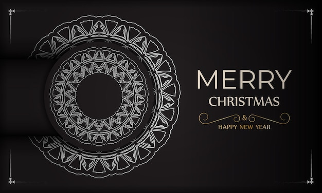 Plakat wesołych świąt i szczęśliwego nowego roku w kolorze czarnym z białym wzorem.
