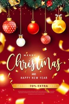 Plakat wesołych świąt i szczęśliwego nowego roku