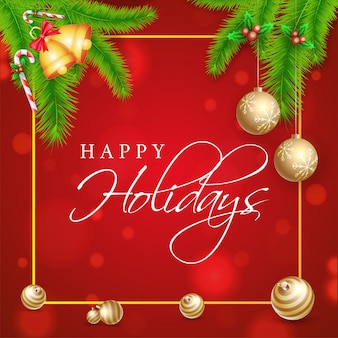 Plakat wesołych świąt lub szablon z liśćmi sosny, dźwięczący dzwon, holly berry i bombki ozdobione czerwonym bokeh.
