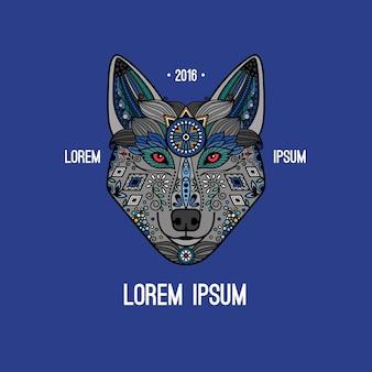Plakat wilka w etnicznym stylu boho, ręcznie rysowane logo wilka.