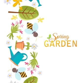 Plakat wiosennego ogrodu z wizerunkami drzewa, doniczki, pszczoły, konewki, budki dla ptaków i wielu innych obiektów na białym tle