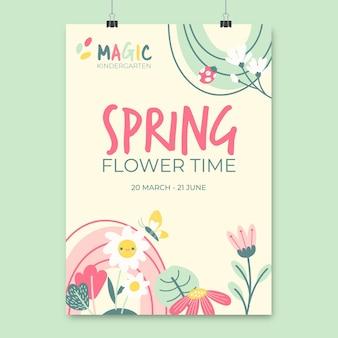 Plakat wiosenny kwiatowy dziecięcy