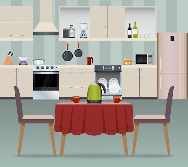 Plakat wnętrza kuchni