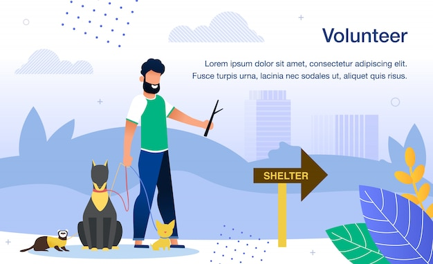 Plakat wolontariusza w schronisku dla zwierząt