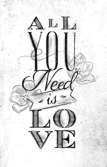 Plakat wszystko czego potrzebujesz to miłość