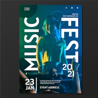 Plakat wydarzenia muzycznego 2021 ze zdjęciem