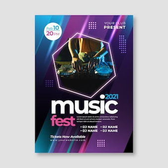 Plakat wydarzenia muzycznego ze zdjęciem