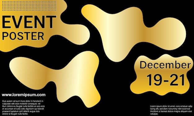 Plakat wydarzenia. projekt złotej okładki. złote elementy.