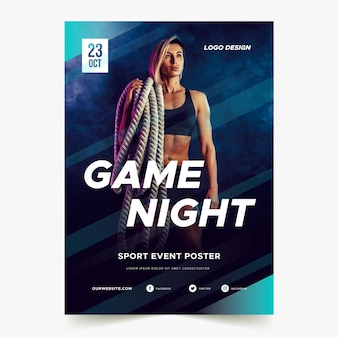 Plakat wydarzenia sportowe z wizerunkiem