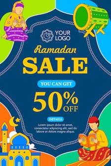 Plakat wyprzedażowy ramadan w stylu płaskiej konstrukcji