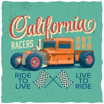 Plakat wyścigów kalifornijskich z projektem koszulki i kart okolicznościowych