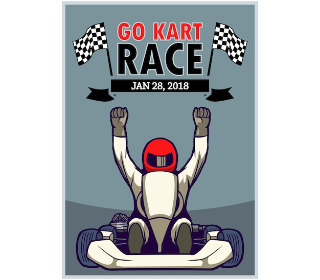Plakat wyścigowy go kart