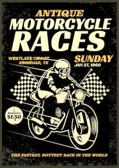 Plakat wyścigu rocznika motocykla