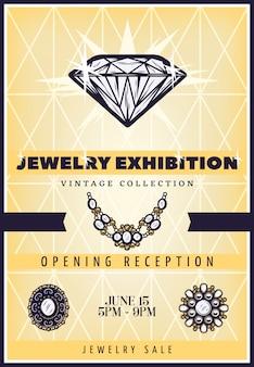 Plakat wystawa vintage pięknej biżuterii