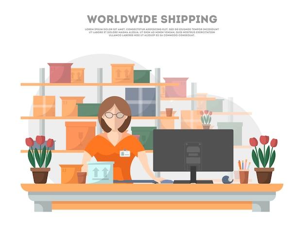 Plakat wysyłkowy na całym świecie z terminalem dostawy