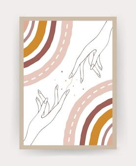 Plakat z abstrakcyjną tęczą w stylu boho i rękami.