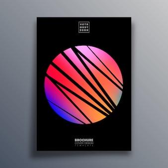 Plakat z abstrakcyjnym słońcem na ulotkę, okładka broszury,