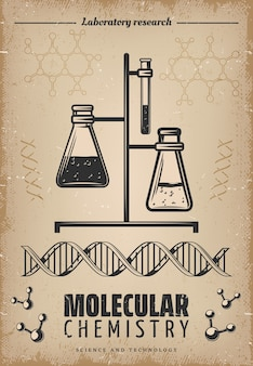 Plakat z badań laboratoryjnych w stylu vintage z dna i strukturą molekularną szklanych probówek