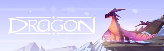 Plakat z bajkowym smokiem na klifie w górach wektor baner z ilustracją kreskówki fantasy o...