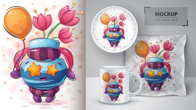 Plakat z balonem i merchandising