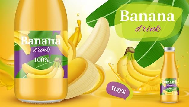 Plakat z bananem. reklama promocyjna egzotycznego tropikalnego soku z bananów wektor zdrowych napojów bananowych