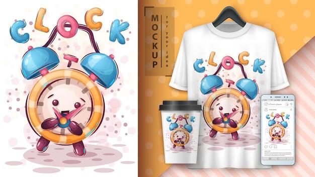 Plakat z budzikiem i merchandising