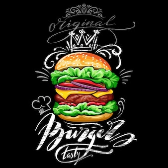 Plakat z burgerem na tle czarnej tablicy