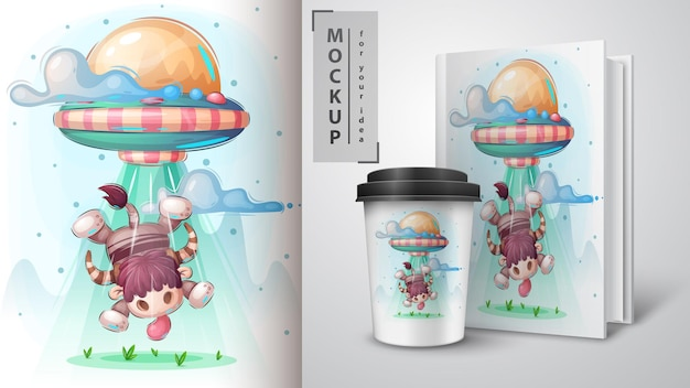 Plakat z bykiem ufo i merchandising