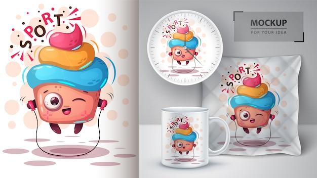 Plakat z ciastami sportowymi i merchandising