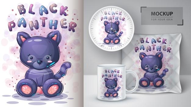 Plakat z czarną panterą i merchandising.