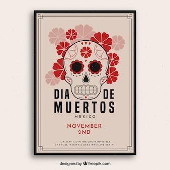 Plakat z czaszkami z kwiatami
