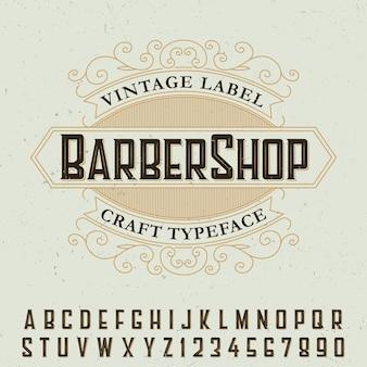 Plakat z czcionką etykiety barber shop z przykładowym projektem etykiety
