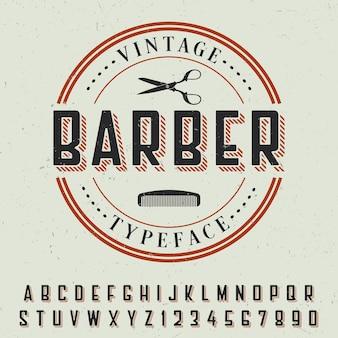 Plakat z czcionką vintage fryzjer z przykładowym projektem etykiety na szaro