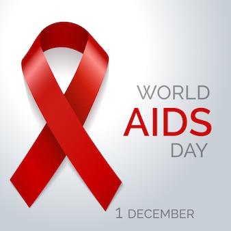 Plakat z czerwoną wstążką światowy dzień aids