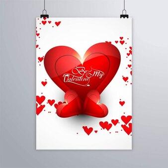 Plakat z czerwonych serc, happy valentine