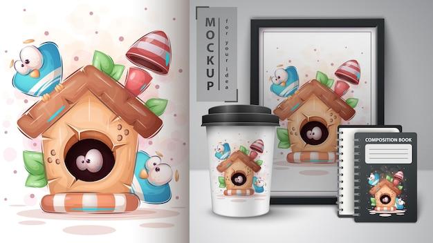 Plakat z drewna birdhouse i merchandising wektor eps 10