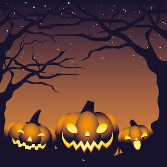 Plakat z dyniami w ciemną noc halloween