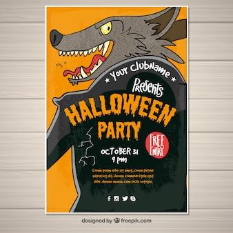 Plakat z dzikim wilkiem na halloween