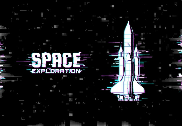 Plakat z eksploracją kosmosu z efektem usterki