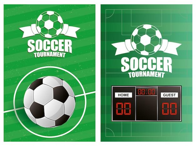 Plakat z emblematem sportu piłki nożnej z balonem i tablicą wyników