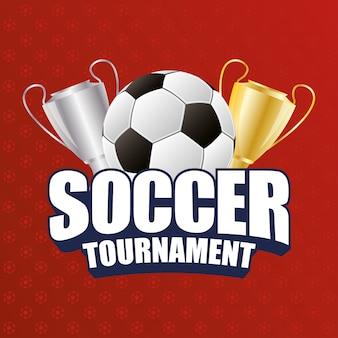 Plakat z emblematem sportu piłki nożnej z balonem i trofeum