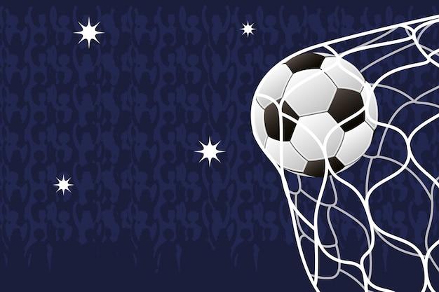 Plakat z emblematem sportu piłki nożnej z balonem w siatce bramki