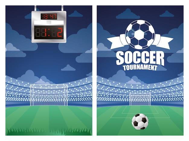 Plakat z emblematem sportu piłki nożnej ze sceną stadionu
