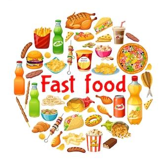Plakat z fast foodami.