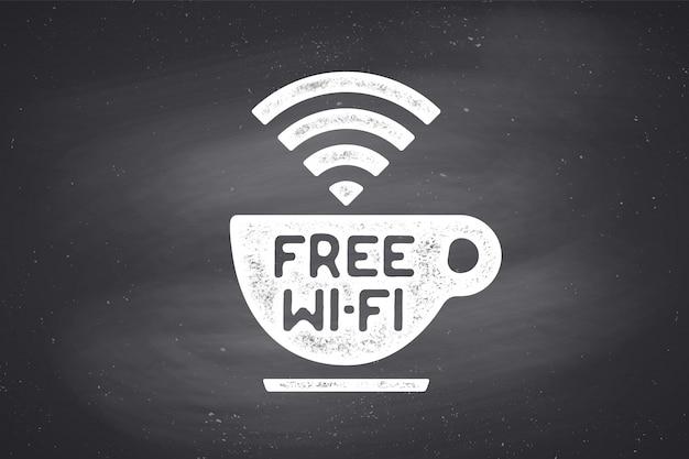 Plakat z filiżanką kawy i tekstem darmowe wifi