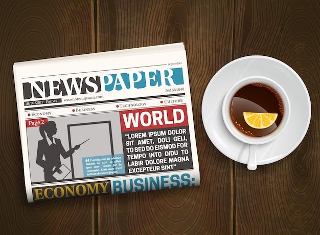 Plakat z gazety drewna rano