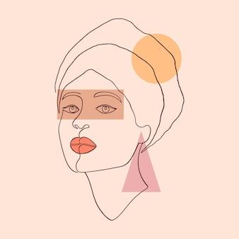 Plakat z geometrycznymi kształtami i kobiecą twarzą w nowoczesnym stylu na jasnym tle.