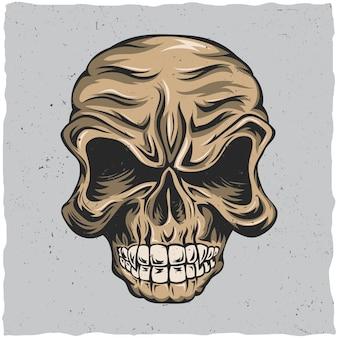 Plakat z gniewną czaszką w kolorach beżu i szarości