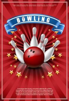 Plakat z grą w kręgle z czerwoną piłką i białymi kręgosłupami.