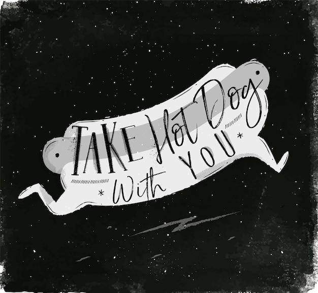Plakat z hot dog w stylu vintage napis